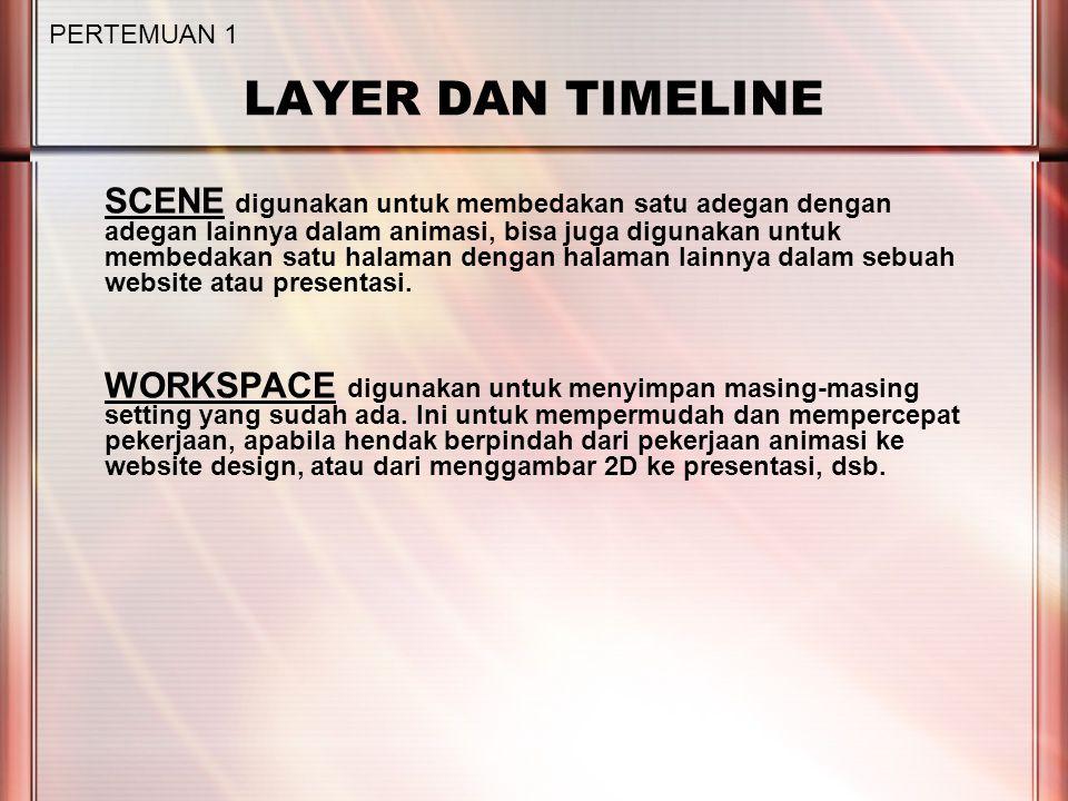 LAYER DAN TIMELINE SCENE digunakan untuk membedakan satu adegan dengan adegan lainnya dalam animasi, bisa juga digunakan untuk membedakan satu halaman dengan halaman lainnya dalam sebuah website atau presentasi.