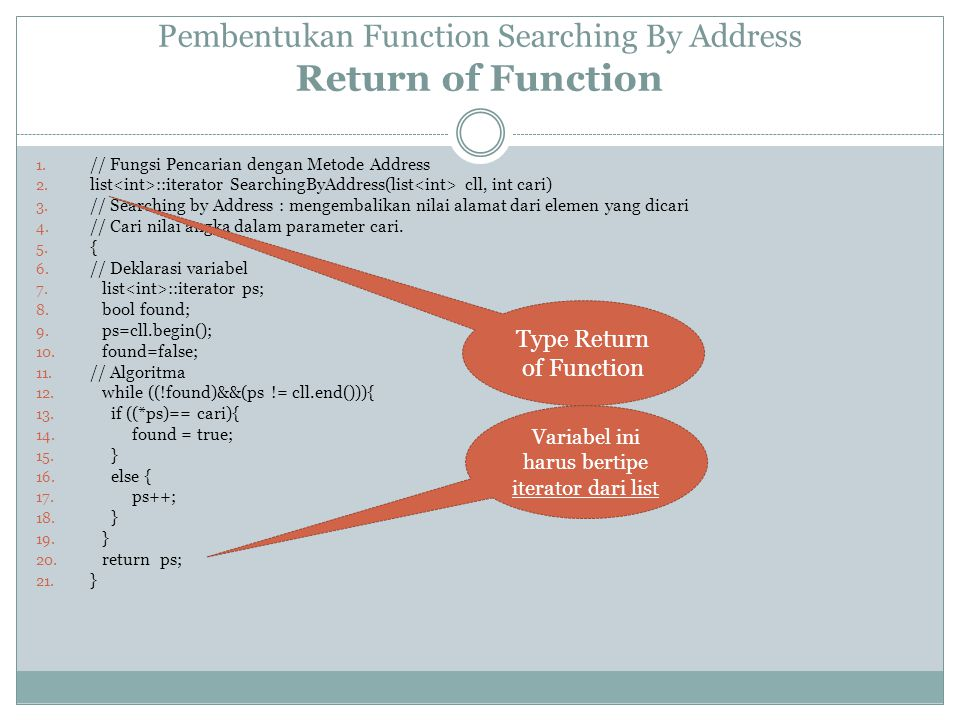 Pembentukan Function Searching By Address Return of Function 1.