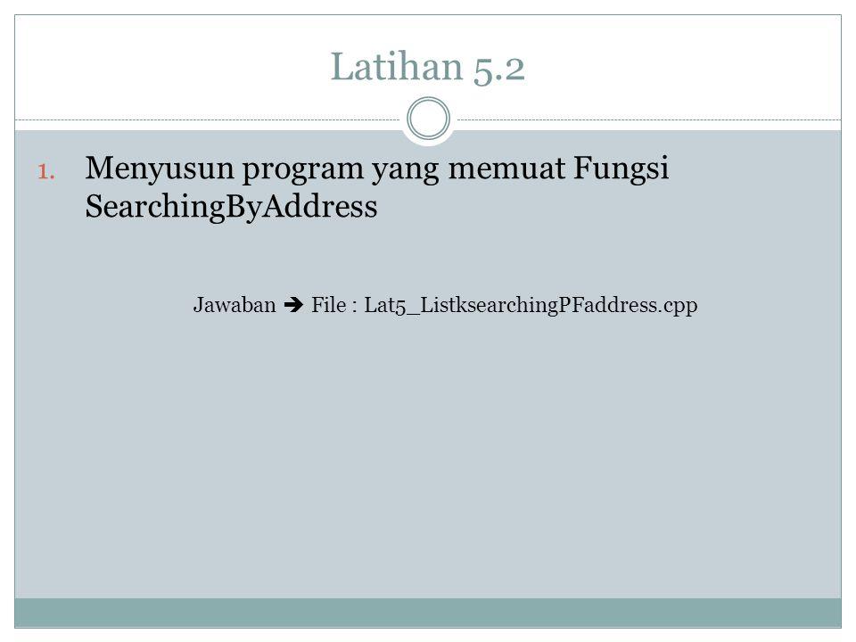 Latihan 5.2 1. Menyusun program yang memuat Fungsi SearchingByAddress Jawaban  File : Lat5_ListksearchingPFaddress.cpp
