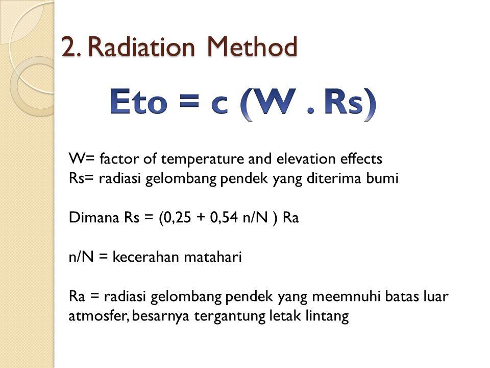 2. Radiation Method W= factor of temperature and elevation effects Rs= radiasi gelombang pendek yang diterima bumi Dimana Rs = (0,25 + 0,54 n/N ) Ra n
