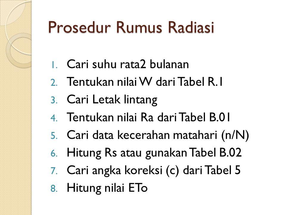 Prosedur Rumus Radiasi 1. Cari suhu rata2 bulanan 2. Tentukan nilai W dari Tabel R.1 3. Cari Letak lintang 4. Tentukan nilai Ra dari Tabel B.01 5. Car