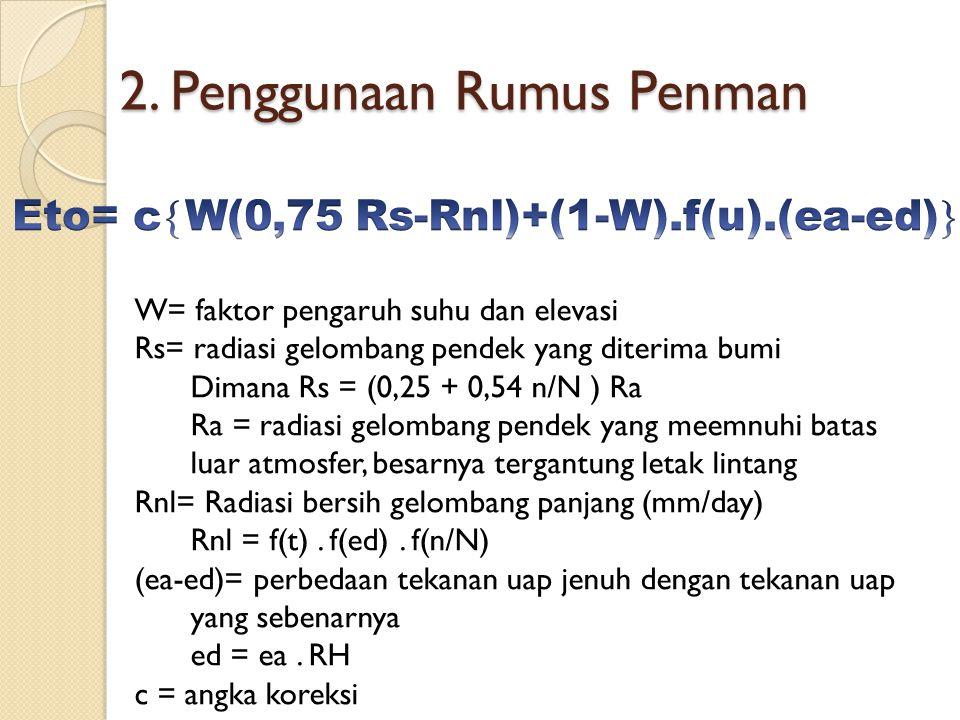 2. Penggunaan Rumus Penman W= faktor pengaruh suhu dan elevasi Rs= radiasi gelombang pendek yang diterima bumi Dimana Rs = (0,25 + 0,54 n/N ) Ra Ra =