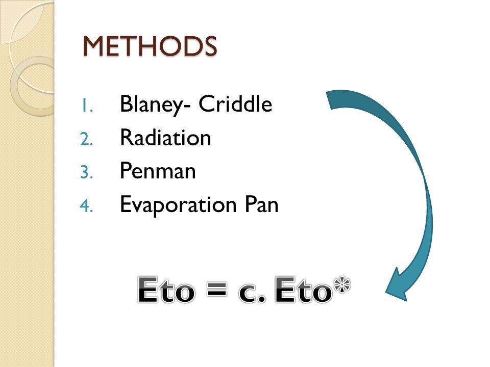 METHODS 1. Blaney- Criddle 2. Radiation 3. Penman 4. Evaporation Pan
