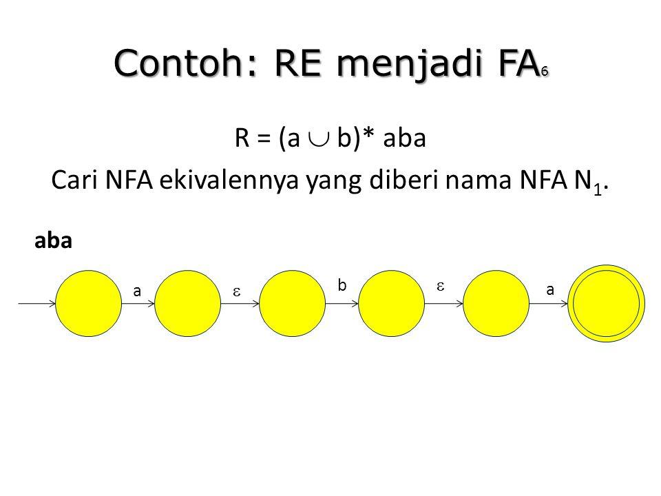Contoh: RE menjadi FA 6 R = (a  b)* aba Cari NFA ekivalennya yang diberi nama NFA N 1. aba a b   a