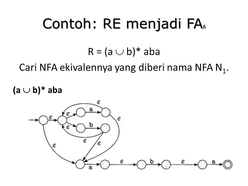 Contoh: RE menjadi FA 6 R = (a  b)* aba Cari NFA ekivalennya yang diberi nama NFA N 1. (a  b)* aba