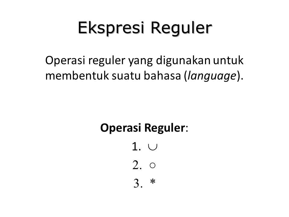 Ekspresi Reguler Operasi reguler yang digunakan untuk membentuk suatu bahasa (language). Operasi Reguler: 1.  2.○ 3.*