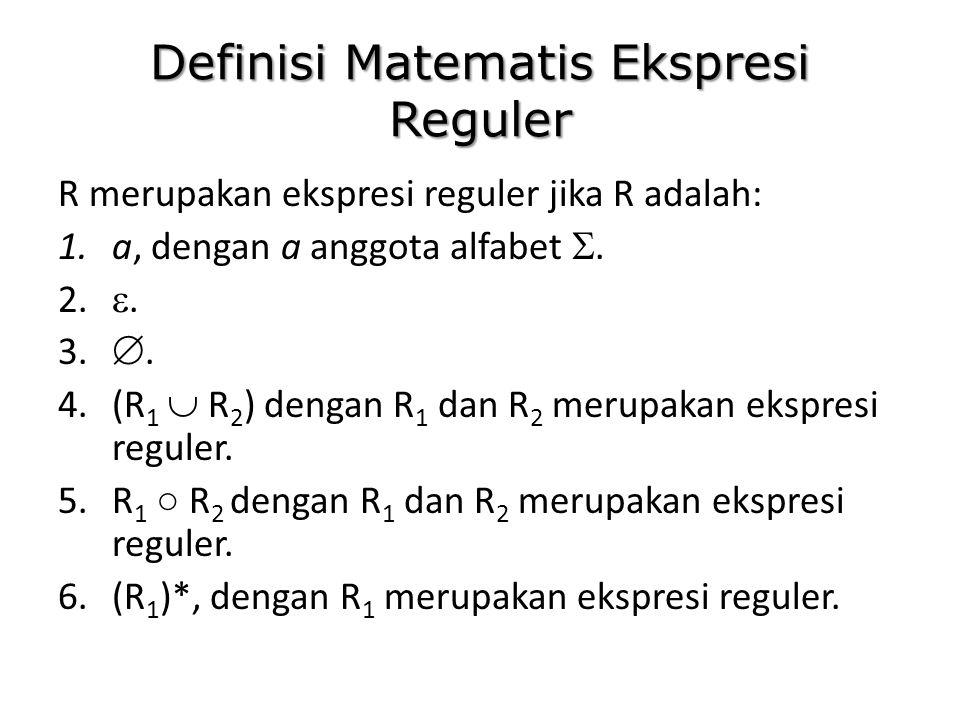 Definisi Matematis Ekspresi Reguler R merupakan ekspresi reguler jika R adalah: 1.a, dengan a anggota alfabet . 2. . 3. . 4.(R 1  R 2 ) dengan R 1