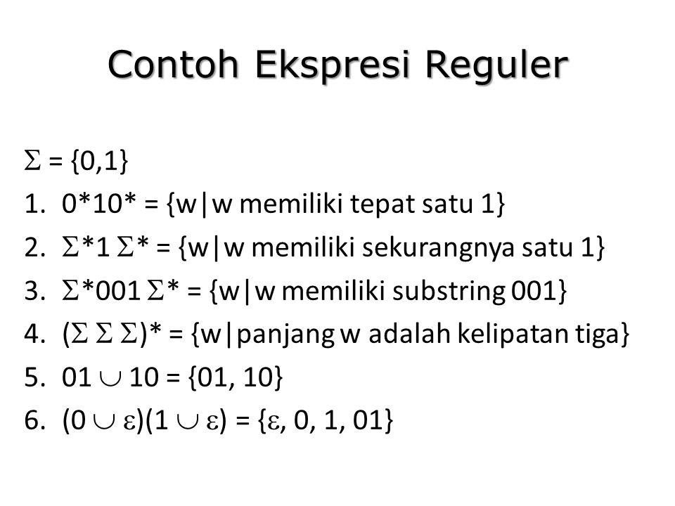 Contoh Ekspresi Reguler  = {0,1} 1.0*10* = {w|w memiliki tepat satu 1} 2.  *1  * = {w|w memiliki sekurangnya satu 1} 3.  *001  * = {w|w memiliki