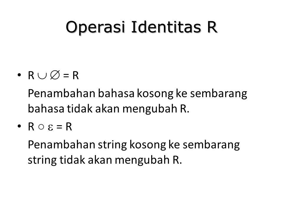 Operasi Identitas R R   = R Penambahan bahasa kosong ke sembarang bahasa tidak akan mengubah R. R ○  = R Penambahan string kosong ke sembarang stri