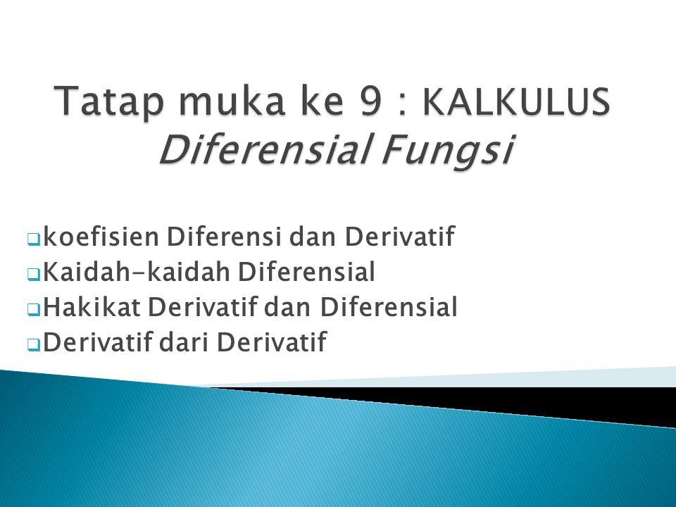  koefisien Diferensi dan Derivatif  Kaidah-kaidah Diferensial  Hakikat Derivatif dan Diferensial  Derivatif dari Derivatif