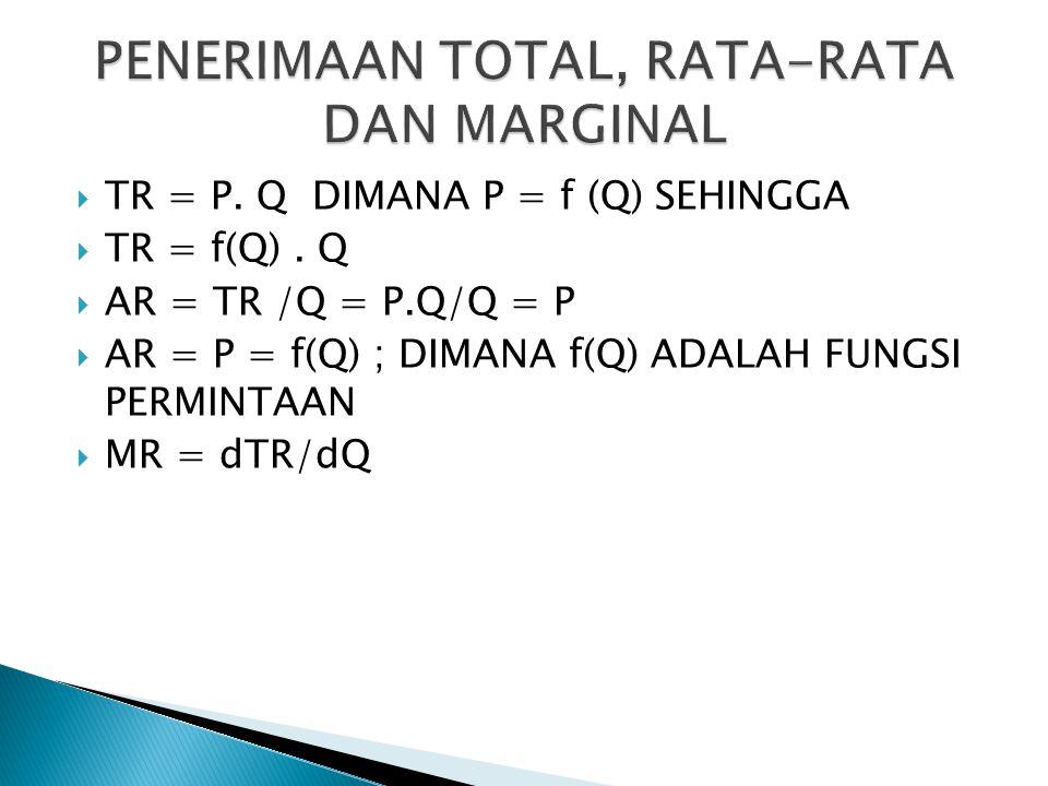  TR = P. Q DIMANA P = f (Q) SEHINGGA  TR = f(Q). Q  AR = TR /Q = P.Q/Q = P  AR = P = f(Q) ; DIMANA f(Q) ADALAH FUNGSI PERMINTAAN  MR = dTR/dQ