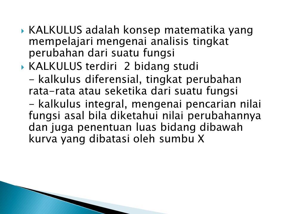  KALKULUS adalah konsep matematika yang mempelajari mengenai analisis tingkat perubahan dari suatu fungsi  KALKULUS terdiri 2 bidang studi - kalkulu