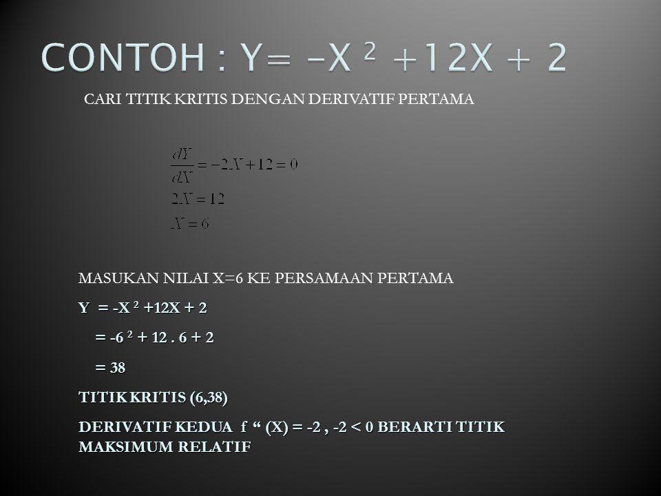 DERIVATIF PERTAMA f' (X) = 3X 2 -24X + 36 =0 Atau 3 (X 2 -8X + 12) Sehingga (X-2)(X-6) Titik kritis X 1 =2 dan X 2 =6 Masukan titik kritis X 1 =2 dan X 2 =6 ke persamaan semula