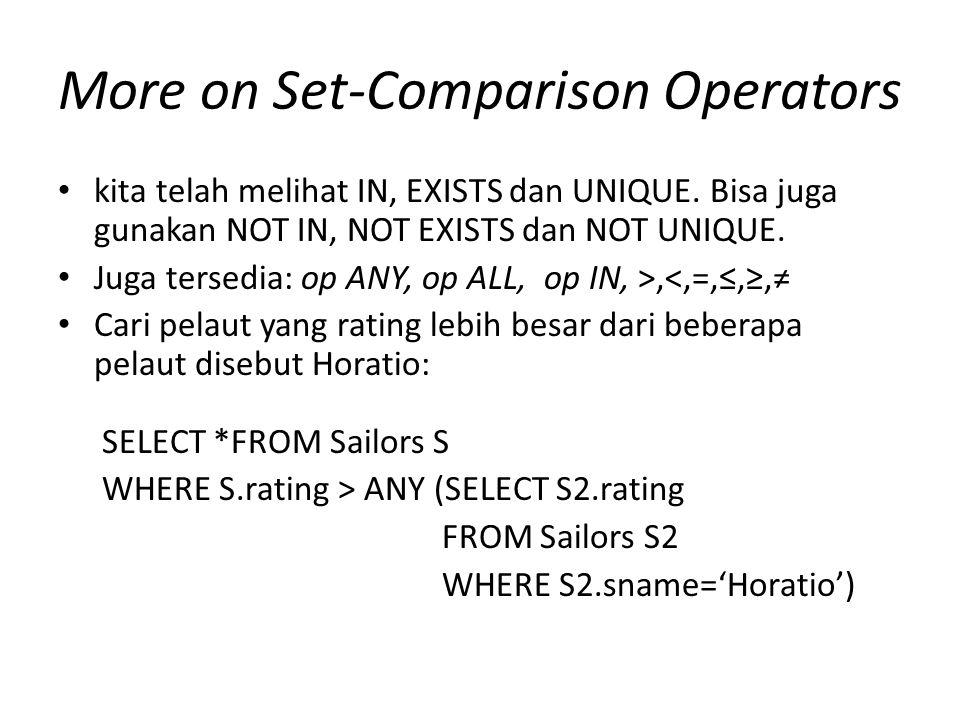More on Set-Comparison Operators kita telah melihat IN, EXISTS dan UNIQUE.