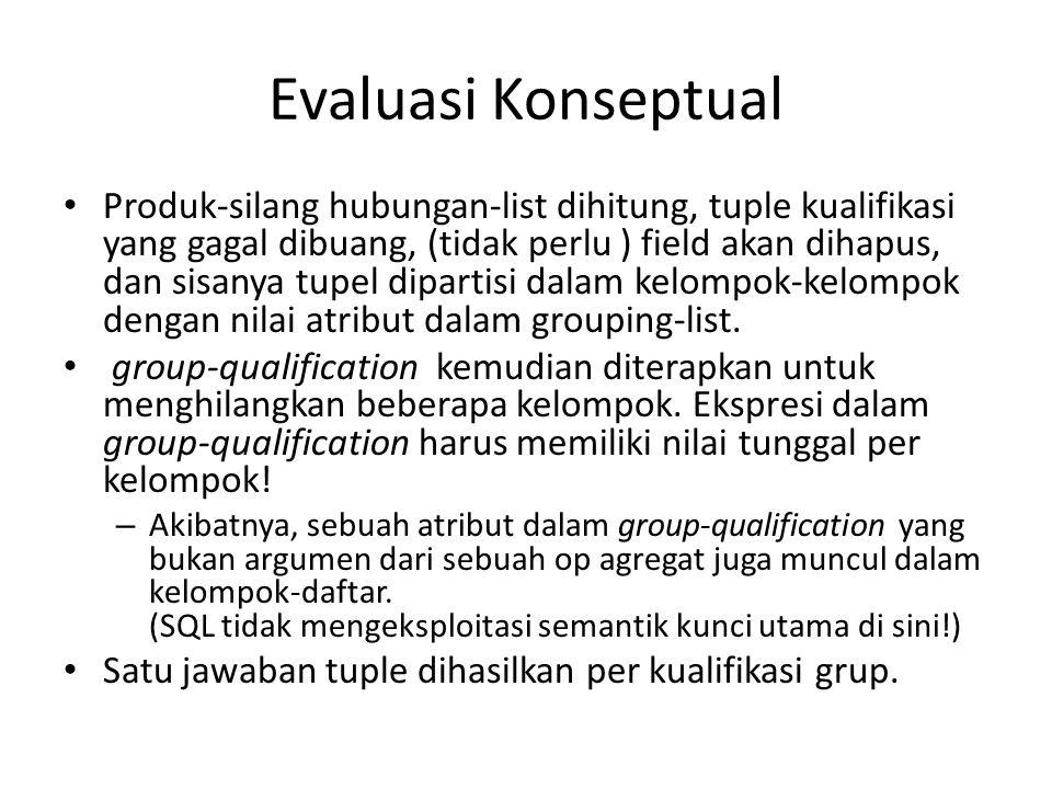 Evaluasi Konseptual Produk-silang hubungan-list dihitung, tuple kualifikasi yang gagal dibuang, (tidak perlu ) field akan dihapus, dan sisanya tupel dipartisi dalam kelompok-kelompok dengan nilai atribut dalam grouping-list.