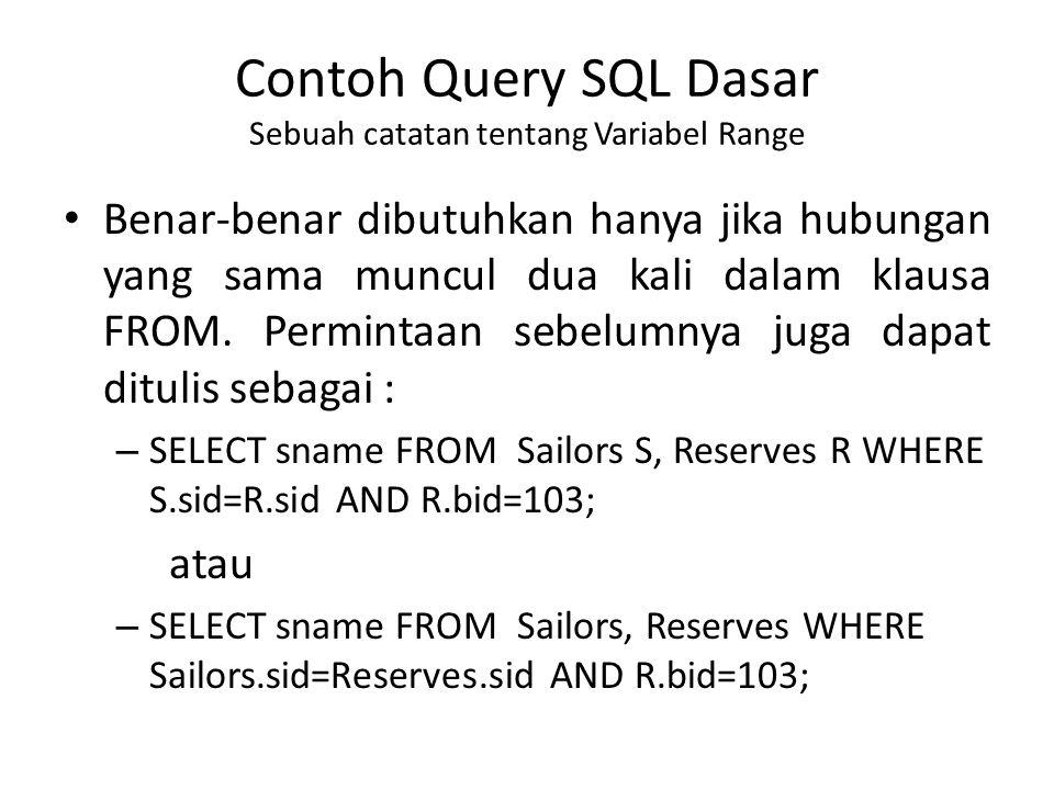 Contoh Query SQL Dasar Sebuah catatan tentang Variabel Range Benar-benar dibutuhkan hanya jika hubungan yang sama muncul dua kali dalam klausa FROM.
