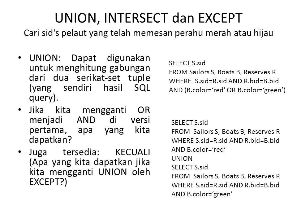 UNION, INTERSECT dan EXCEPT Cari sid s pelaut yang telah memesan perahu merah atau hijau UNION: Dapat digunakan untuk menghitung gabungan dari dua serikat-set tuple (yang sendiri hasil SQL query).