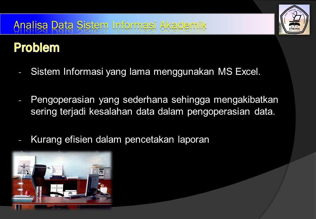 - Sistem Informasi yang lama menggunakan MS Excel.