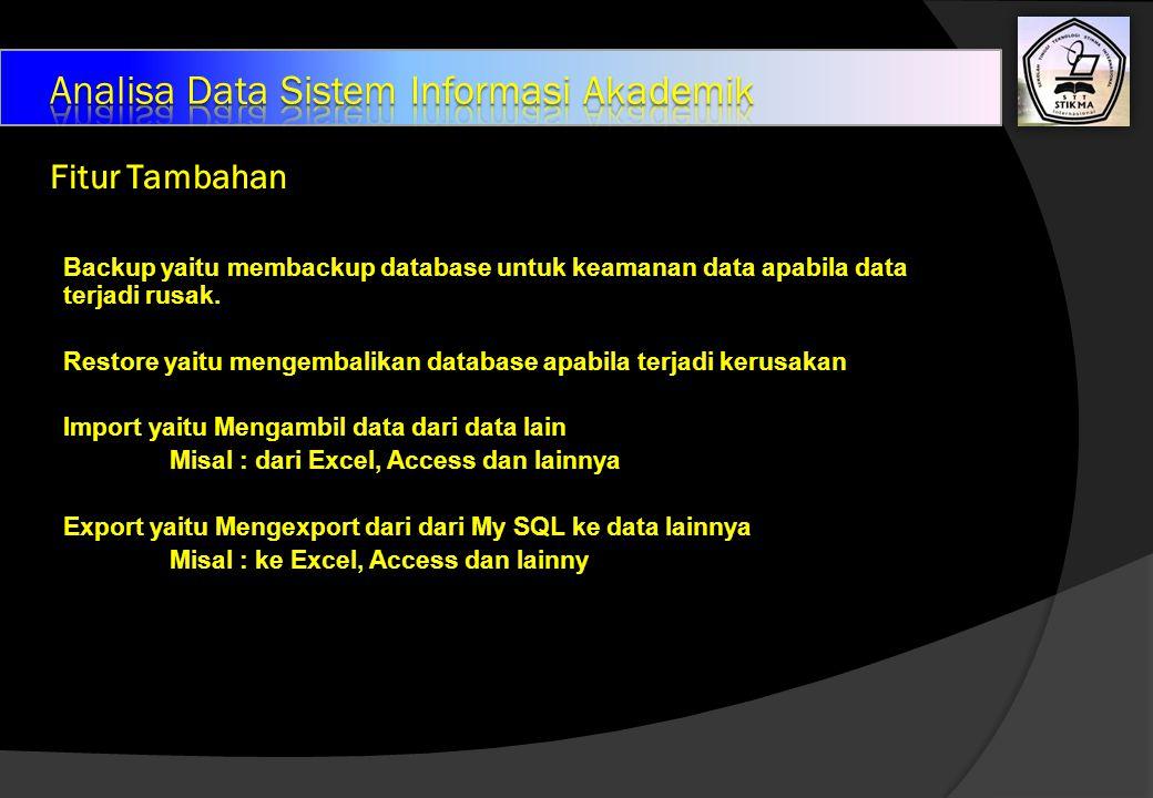 Fitur Tambahan Backup yaitu membackup database untuk keamanan data apabila data terjadi rusak.