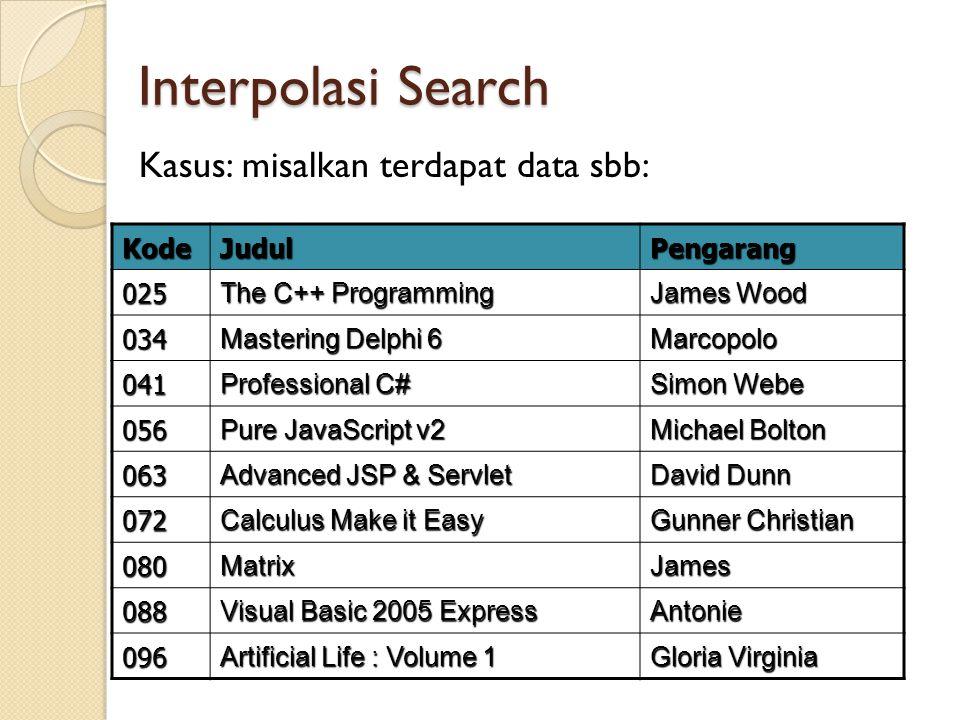 Interpolasi Search Kasus: misalkan terdapat data sbb: KodeJudulPengarang 025 The C++ Programming James Wood 034 Mastering Delphi 6 Marcopolo 041 Profe