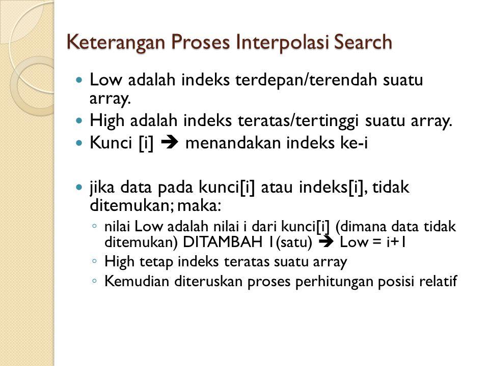 Keterangan Proses Interpolasi Search Low adalah indeks terdepan/terendah suatu array. High adalah indeks teratas/tertinggi suatu array. Kunci [i]  me