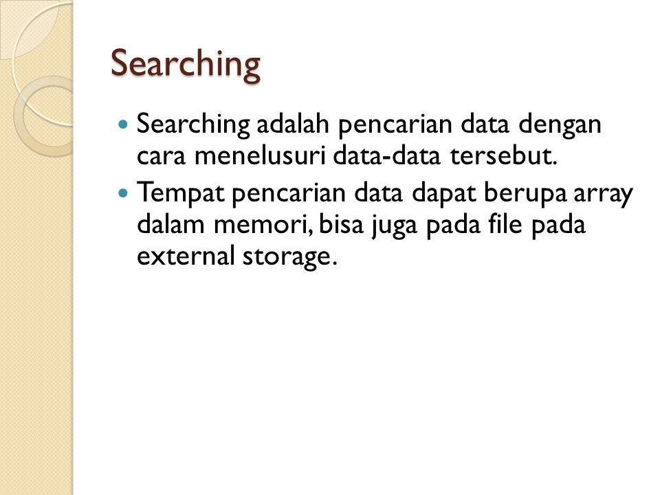 Searching Searching adalah pencarian data dengan cara menelusuri data-data tersebut. Tempat pencarian data dapat berupa array dalam memori, bisa juga