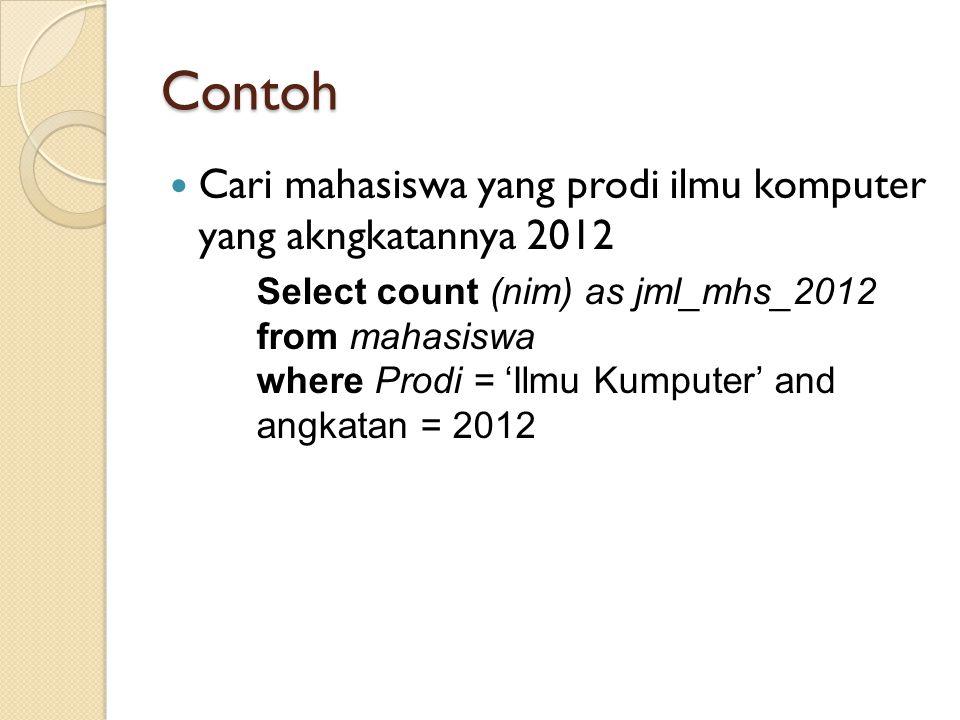 Contoh Cari mahasiswa yang prodi ilmu komputer yang akngkatannya 2012 Select count (nim) as jml_mhs_2012 from mahasiswa where Prodi = 'Ilmu Kumputer'