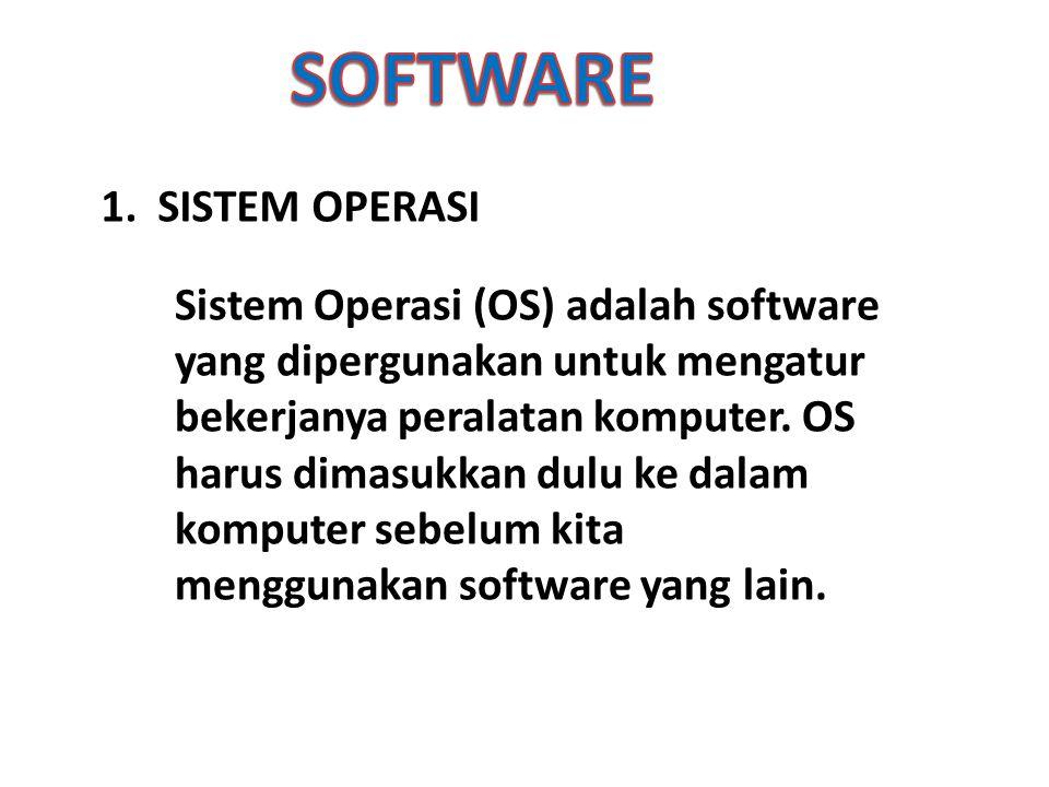 1. SISTEM OPERASI Sistem Operasi (OS) adalah software yang dipergunakan untuk mengatur bekerjanya peralatan komputer. OS harus dimasukkan dulu ke dala