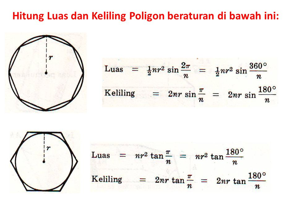 Hitung Luas dan Keliling Poligon beraturan di bawah ini: