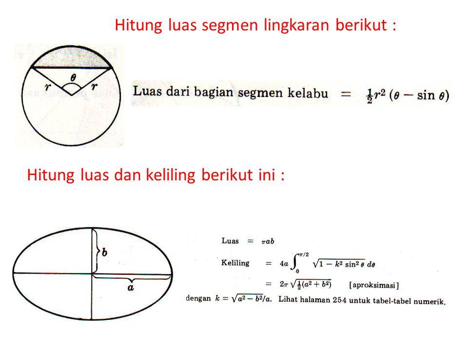 Hitung luas segmen lingkaran berikut : Hitung luas dan keliling berikut ini :