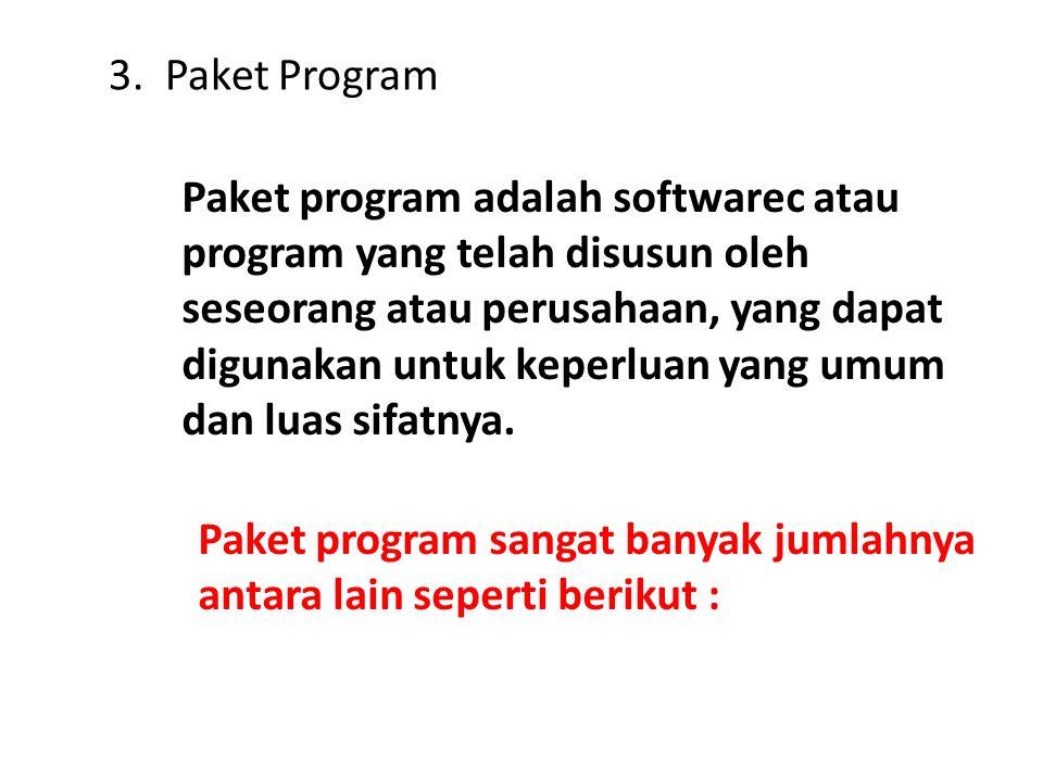 3. Paket Program Paket program adalah softwarec atau program yang telah disusun oleh seseorang atau perusahaan, yang dapat digunakan untuk keperluan y