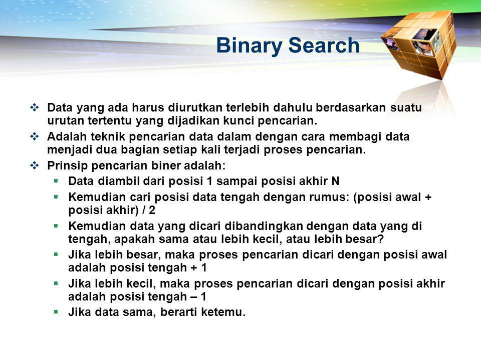 Binary Search  Data yang ada harus diurutkan terlebih dahulu berdasarkan suatu urutan tertentu yang dijadikan kunci pencarian.  Adalah teknik pencar