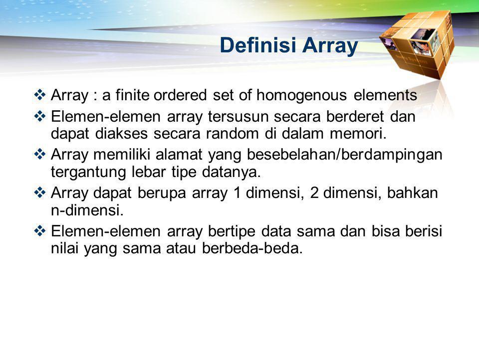 Ilustrasi Array 1 Dimensi char 0 1 2 3 4 5 6 7 21da 21db 21dc 21dd 21de 21df 21e0 21e1 indeks value alamat %x adalah hexadesimal