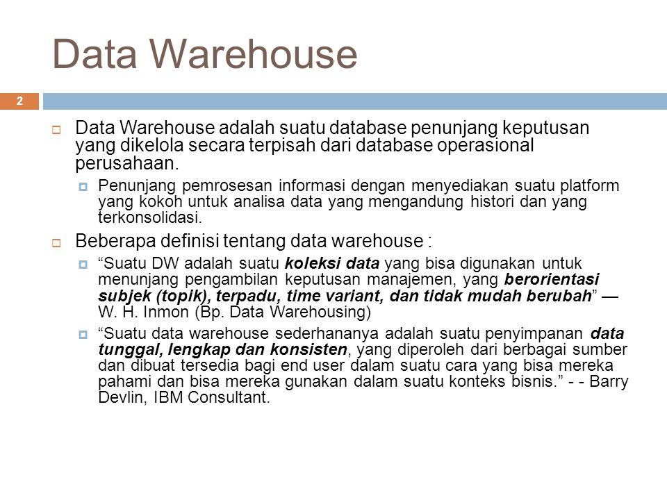 Data Warehouse 2  Data Warehouse adalah suatu database penunjang keputusan yang dikelola secara terpisah dari database operasional perusahaan.