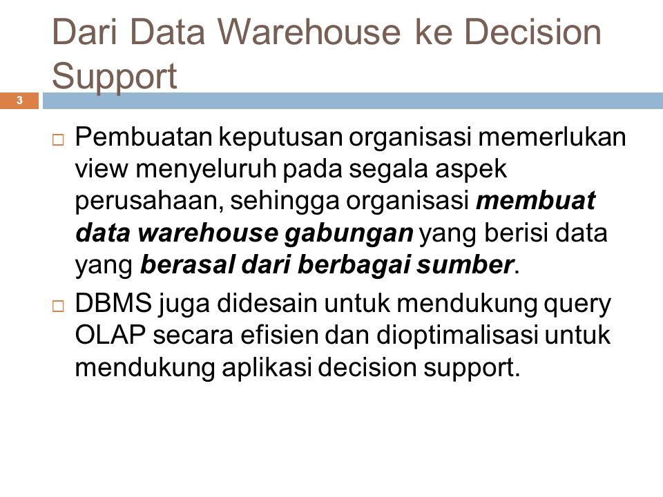 Dari Data Warehouse ke Decision Support 3  Pembuatan keputusan organisasi memerlukan view menyeluruh pada segala aspek perusahaan, sehingga organisasi membuat data warehouse gabungan yang berisi data yang berasal dari berbagai sumber.