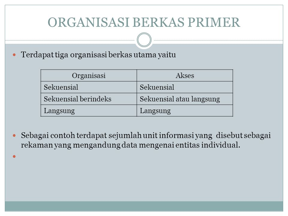 ORGANISASI BERKAS PRIMER Terdapat tiga organisasi berkas utama yaitu Sebagai contoh terdapat sejumlah unit informasi yang disebut sebagai rekaman yang