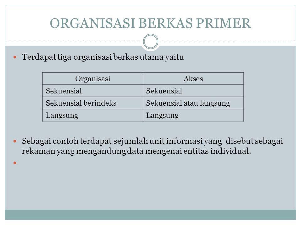 ORGANISASI BERKAS PRIMER Terdapat tiga organisasi berkas utama yaitu Sebagai contoh terdapat sejumlah unit informasi yang disebut sebagai rekaman yang mengandung data mengenai entitas individual.