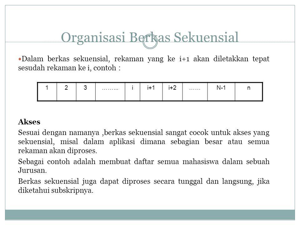 Organisasi Berkas Sekuensial Dalam berkas sekuensial, rekaman yang ke i+1 akan diletakkan tepat sesudah rekaman ke i, contoh : Akses Sesuai dengan namanya,berkas sekuensial sangat cocok untuk akses yang sekuensial, misal dalam aplikasi dimana sebagian besar atau semua rekaman akan diproses.