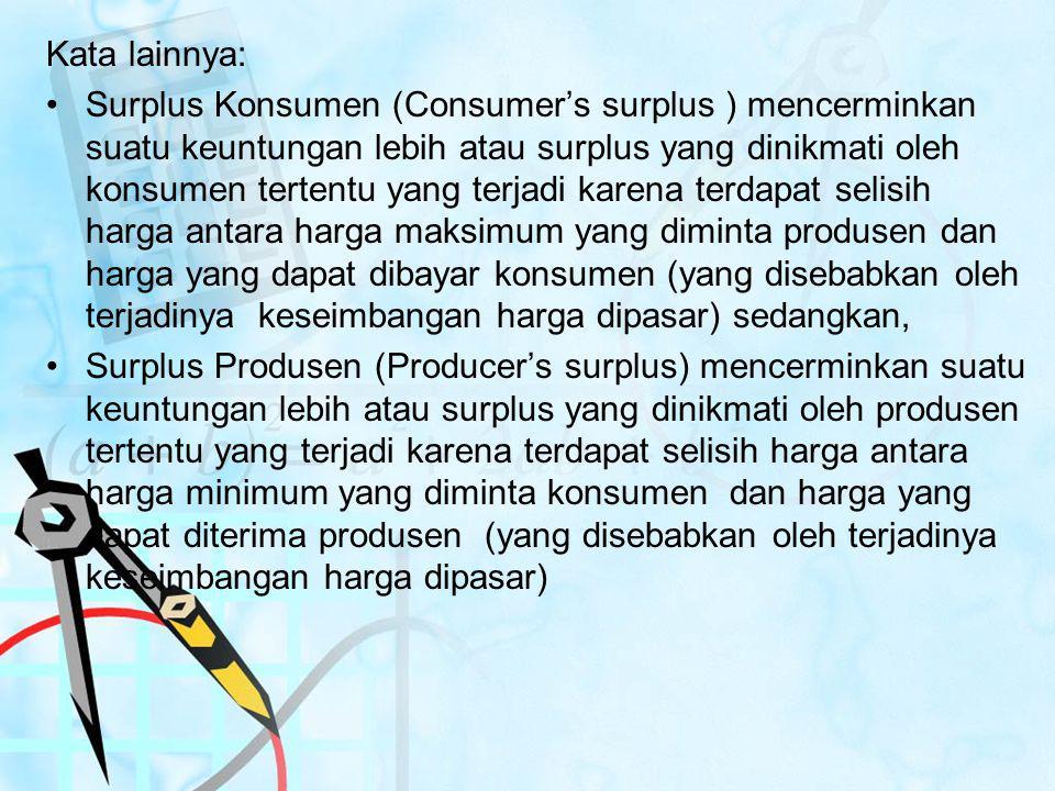 Kata lainnya: Surplus Konsumen (Consumer's surplus ) mencerminkan suatu keuntungan lebih atau surplus yang dinikmati oleh konsumen tertentu yang terja