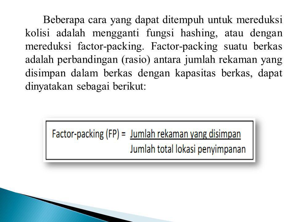 Beberapa cara yang dapat ditempuh untuk mereduksi kolisi adalah mengganti fungsi hashing, atau dengan mereduksi factor-packing.