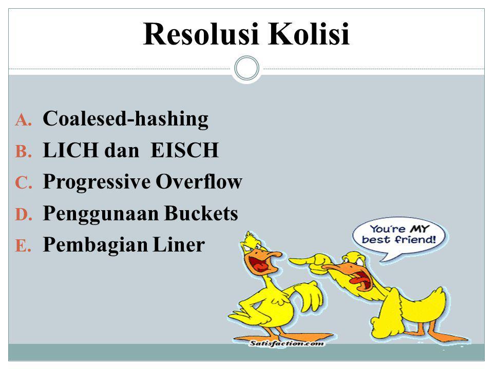 Resolusi Kolisi A. Coalesed-hashing B. LICH dan EISCH C. Progressive Overflow D. Penggunaan Buckets E. Pembagian Liner