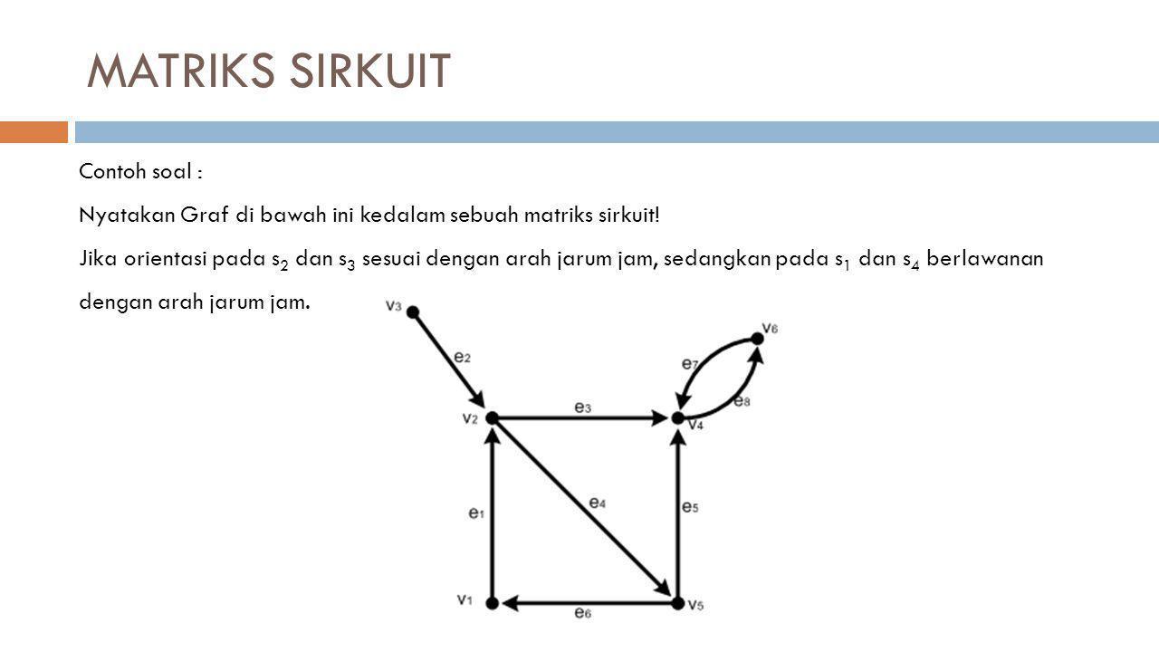 MATRIKS SIRKUIT Contoh soal : Nyatakan Graf di bawah ini kedalam sebuah matriks sirkuit! Jika orientasi pada s 2 dan s 3 sesuai dengan arah jarum jam,