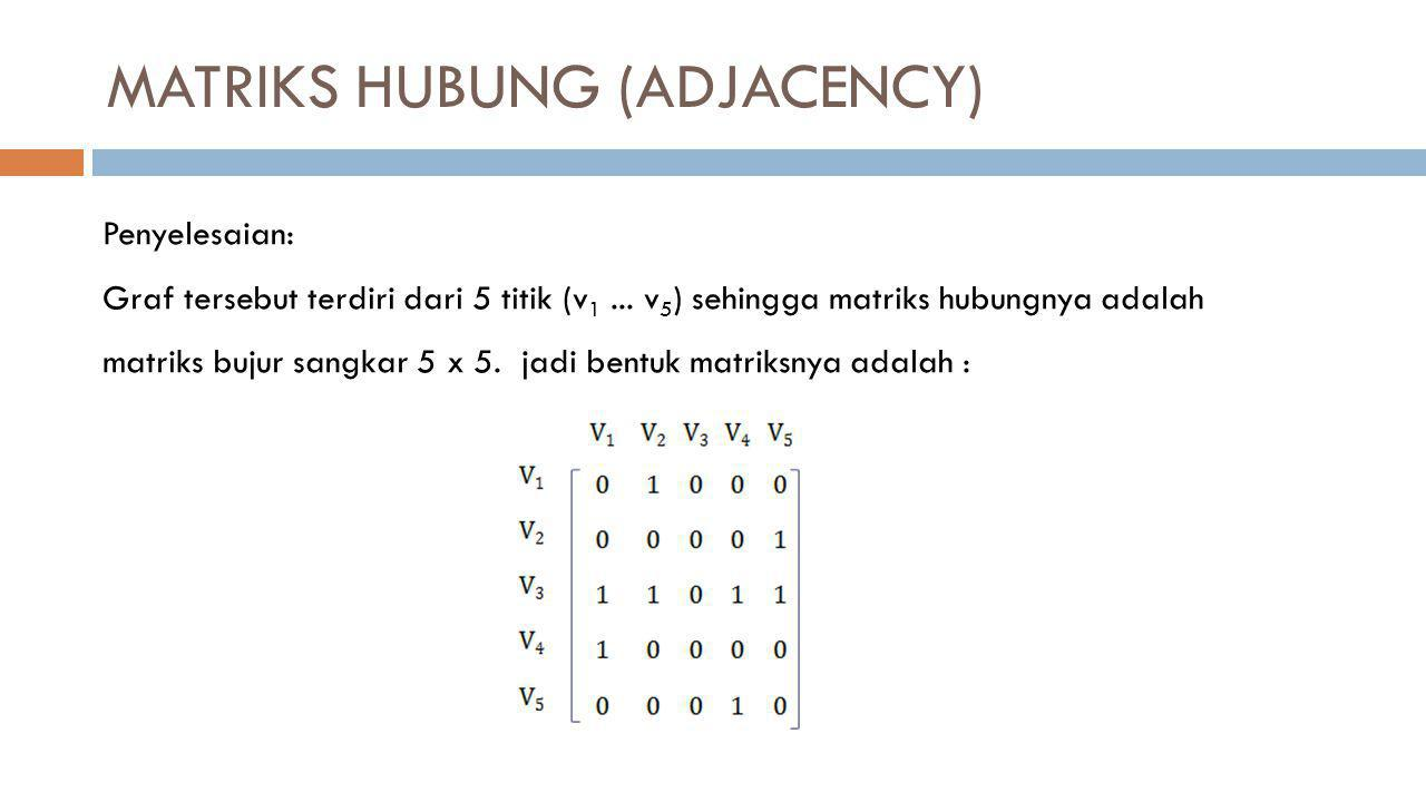 MATRIKS HUBUNG (ADJACENCY) Penyelesaian: Graf tersebut terdiri dari 5 titik (v 1... v 5 ) sehingga matriks hubungnya adalah matriks bujur sangkar 5 x
