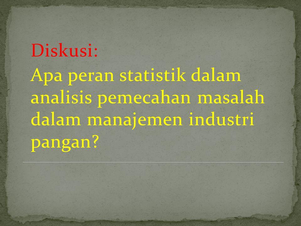 Diskusi: Apa peran statistik dalam analisis pemecahan masalah dalam manajemen industri pangan?