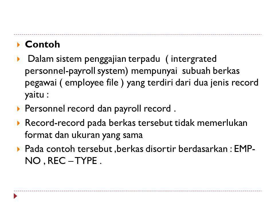  Contoh  Dalam sistem penggajian terpadu ( intergrated personnel-payroll system) mempunyai subuah berkas pegawai ( employee file ) yang terdiri dari dua jenis record yaitu :  Personnel record dan payroll record.