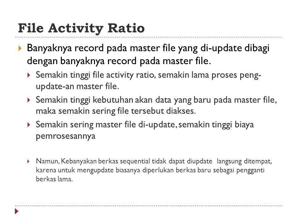 File Activity Ratio  Banyaknya record pada master file yang di-update dibagi dengan banyaknya record pada master file.  Semakin tinggi file activity