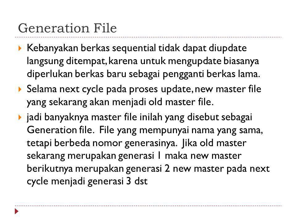 Generation File  Kebanyakan berkas sequential tidak dapat diupdate langsung ditempat, karena untuk mengupdate biasanya diperlukan berkas baru sebagai