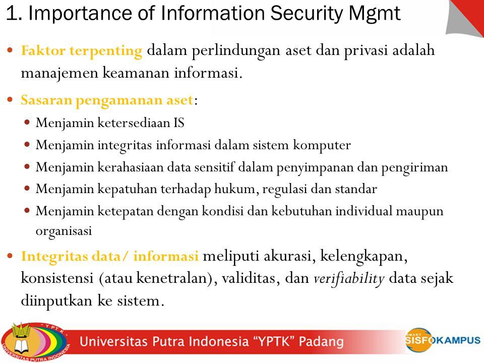 1. Importance of Information Security Mgmt Faktor terpenting dalam perlindungan aset dan privasi adalah manajemen keamanan informasi. Sasaran pengaman