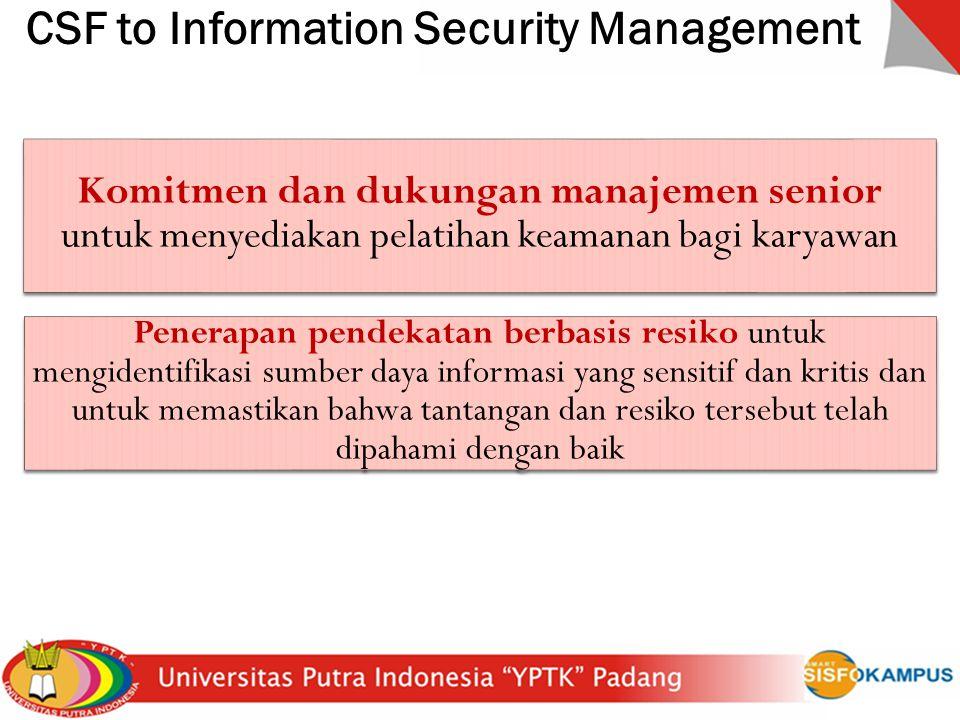 CSF to Information Security Management Komitmen dan dukungan manajemen senior untuk menyediakan pelatihan keamanan bagi karyawan Penerapan pendekatan