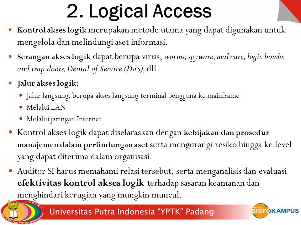 2. Logical Access Kontrol akses logik merupakan metode utama yang dapat digunakan untuk mengelola dan melindungi aset informasi. Serangan akses logik